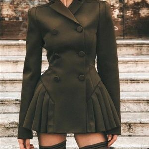 Dresses & Skirts - Double Breast Pleated Blazer Dress in Army Green